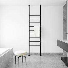 Bendigo Residence... Main bathroom featuring a very handsome custom black towel ladder warm towels in the morning  #BendigoResidencebyFlackStudio #flackstudio  @brookeholm Art direction @marshagolemac by flackstudio