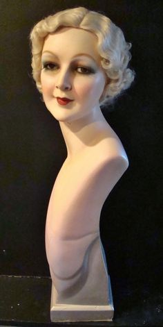 VINTAGE MANNEQUIN HEAD -1930'S BEAUTY SALON/WIG  GLASS EYES