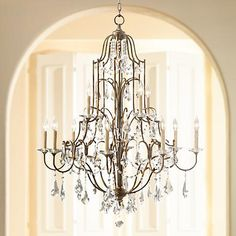 Feiss Valentina 36 Wide Oxidized Bronze Chandelier- Best Room Decorations for Your Home Chandelier Lighting Fixtures, Foyer Chandelier, Dining Room Light Fixtures, Led Pendant Lights, Mini Chandelier, Chandelier Ideas, Foyer Lighting, Brushed Nickel Chandelier, Brass Ceiling Light