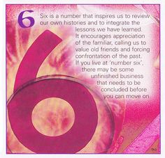 Numerical associations the number 6