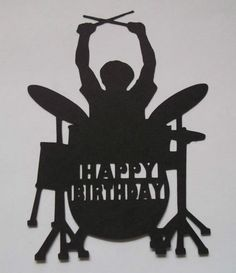 Silhouette Rock Drummer Happy Birthday music man