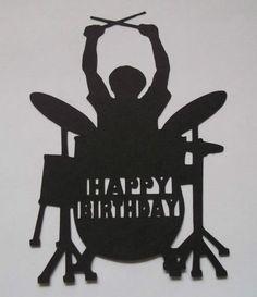Silhouette Rock Drummer Happy Birthday music man