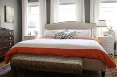 The Every Girl - bedrooms - Crate & Barrel Colette Bed, gray, walls, white, drapes, monogrammed, shams, white, orange, duvet, white, vintage...