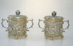 Two-handled cup and cover. English (London). RC, about 1680. Silver and silver gilt