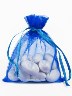 Royal blue (cobalt blue) organza bags are great for wedding favors, party favors, jewelry pouches, gift bags and more. Choose from multiple sizes to fit your product Bags are flat, and measured in inc