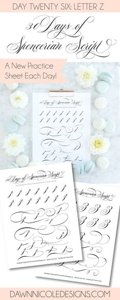 Spencerian Script Style: Letter Z Worksheets. This post is part of the 30 Days of Spencerian Script Style Worksheets series. I'm posting a new free Spencerian Style Practice Worksheet every day for thirty days!