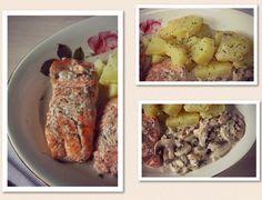 LENTEJAS CON VERDURAS Y SALMON CON PATATAS EN SALSA DE CHAMPIÑONES. http://wwwreposteriabego.blogspot.com.es/2015/03/lentejas-con-verduras-salmon-con_30.html?m=1