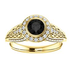 14kt Yellow Gold 5.2mm Center Round Onyx or or 16 Halo Diamonds and 34 Accent Diamonds Engagement Ring...(ST122545:151:P).! Price: $599.99 #diamonds #ring #gold #bezelring #fashion #jewelry #jemstone