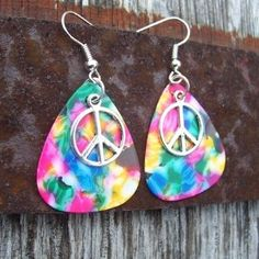 peace sign guitar pick ear rings