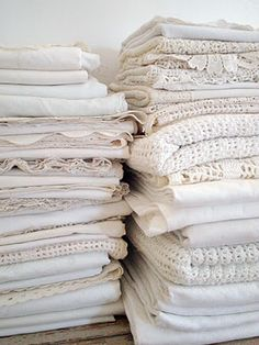 I have these stored in my closet...love linens!