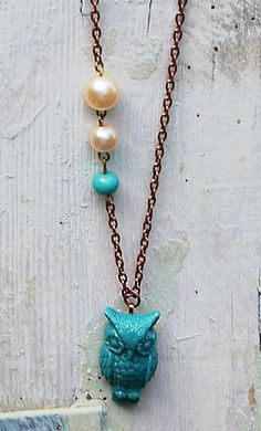 Teal Owl Necklace. Bohemian Style Necklace. Teal