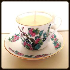 Hearts and Home - home accessories & gifts for all occasions, wedding and event hire. Teacup Candles, Vintage China, Home Accessories, Personalized Gifts, Tea Cups, Vanilla, Miniatures, Hand Painted, Tableware