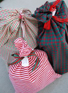 Make Santa bags instead of wrapping gifts with paper- saves time, money and the environment