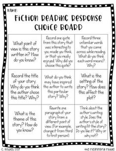 Reading Response Choice Boards (Fiction, Nonfiction, and Editable Templates) Reading Resources, Reading Skills, Guided Reading, Close Reading, Reading Activities, Classroom Activities, Free Reading, Classroom Ideas, Reading Response