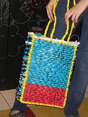 Tote made from recycled plastic bags