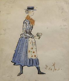 Eliza Doolittle original costume sketch for Julie Andrews by Cecil Beaton