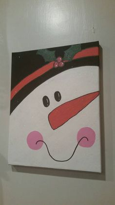 Snowman Canvas Painting by LilHanksCreations on Etsy