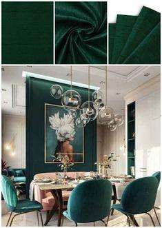 Hunter green silk curtains for dining room from Spiffy Spools Green Dining Room, Luxury Dining Room, Dining Room Design, Dining Room Art, Beautiful Dining Rooms, Dark Dining Rooms, Dinning Room Lights, Dining Room Paneling, Dinning Room Chandelier