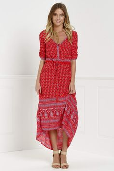 Ethnic Print V Neck 3/4 Sleeve Maxi Dress RED: Bohemian Dresses | ZAFUL