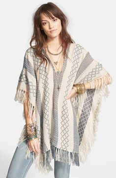 Free People Woven Pattern Poncho Sweater available at #Nordstrom