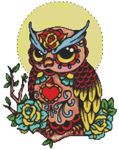 Dia De Los Muertos Cross Stitch kit 'Day Of The Dead Owl' By Illustrated Ink. - Modern tattoo cross stitch, counted cross stitch