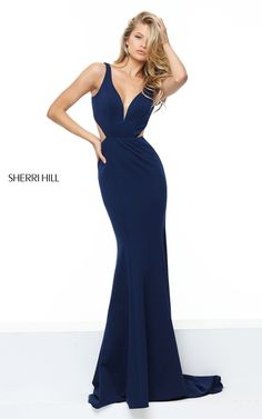 Fitted Navy Sherri Hill 50753 Sexy Long Homecoming Dress