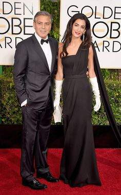 Amal Clooney Wears Ladylike White Gloves For First Golden Globes Appearance With Husband George Clooney - 2015  George Clooney, Amal Clooney, Golden Globes