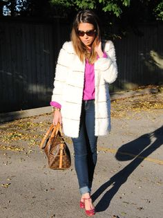 The Style Mogul | Online Personal Scrapbook & Latest Fashion Trends (our fuzzy coat..so cute how she styles it with denim.