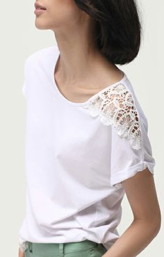 White Lace Splicing O-neck Short Sleeves Cotton T-shirt Sleeves Designs For Dresses, Sleeve Designs, Blouse Styles, Blouse Designs, Sewing Alterations, Shirt Bluse, Basic Tops, T Shirts For Women, Clothes For Women