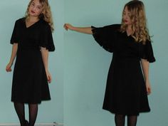 Vintage little black party dress with Fringe/ door Manrinavintage