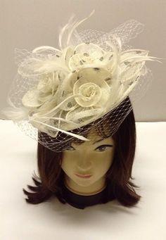 Fancy Flower Feather Women Fascinator Cocktail Headband Derby Hat Off White
