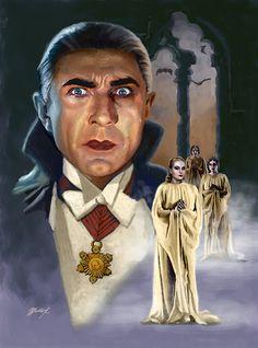 Universal Classic Monsters Art : Bela Lugosi as Count Dracula by Mark Maddox. Retro Horror, Horror Icons, Vintage Horror, Horror Films, Gothic Horror, Classic Monster Movies, Classic Horror Movies, Classic Monsters, Frankenstein