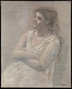 Woman in White  Pablo Picasso  (Spanish, Malaga 1881–1973 Mougins, France)    Date:      1923  Medium:      Oil, water-based paint, and crayon on canvas  Dimensions:      39 x 31 1/2in. (99.1 x 80cm)