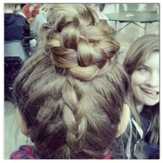 Upside down Dutch braid and braided bun:) (done by me)
