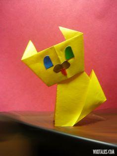 сделать простого котенка оригами