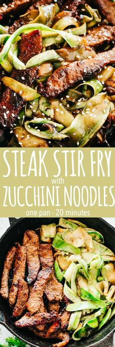 Steak Stir Fry with Zucchini Noodles Intensely flavorful and wonderfully delicious Stir Fry Steak and Zucchini Noodles prepared in just one pan for a quick low carb meal that youll go back to again and again! Stir Fry Recipes, Paleo Recipes, Asian Recipes, Low Carb Recipes, Cooking Recipes, Tapas Recipes, Crab Recipes, Easy Beef Stir Fry, Steak Stir Fry