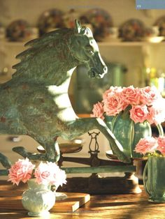 The horse steals the show!  Lovely verdigris weather vane from Horses & Homes by Jennifer Jones