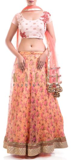 Buy Online from the link below. We ship worldwide (Free Shipping over US$100) Price- $339 Click Anywhere to Tag http://www.kalkifashion.com/printed-organza-lehenga-with-an-embroidered-blouse.html