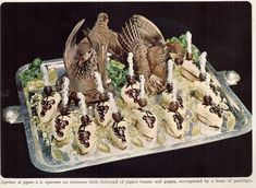 Suprémes de pigeons a la vigneronne. Miniature birds fashioned of pigion breasts and grapes, accompanied by a brace of partridges. Scary Food, Gross Food, Weird Food, Bad Food, Retro Recipes, Vintage Recipes, Vintage Cooking, Vintage Food, Food Fails
