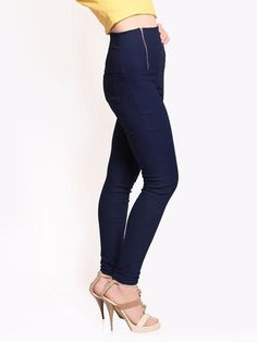 LadyIndia.com #Jeans, Miss Chase Women Navy Retro Treggings, Jeans, Danims, Women Skinny Jeans, Ripped Jeans, https://ladyindia.com/collections/western-wear/products/miss-chase-women-navy-retro-treggings?variant=30287397133