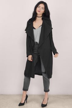Cloudy Skies Draped Trench Coat