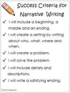 Narrative Success Criteria Text Types and Purposes Write narratives to develop real or imagined experiences or events using effective technique, descriptive details, and clear event sequences. Writing Strategies, Writing Lessons, Writing Resources, Teaching Writing, Writing Activities, Writing Skills, Writing Ideas, Teaching Ideas, Efl Teaching