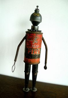 """FireHero"" Assemblage Robot Sculpture 