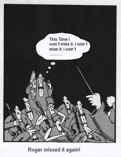 Roger screws up. (The Far Side) intj humor single quotes sad lonely happy birthday quotes funny new york engagement new york giants suck new hair quote funny Far Side Cartoons, Far Side Comics, Funny Cartoons, Funny Comics, Funny Jokes, Gary Larson Cartoons, Music Jokes, Music Humor, The Far Side Gallery