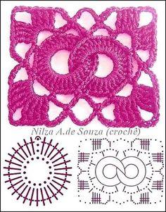 Crochet Patterns Stitches Beautiful crochet samples - with graphics Crochet Motifs, Crochet Blocks, Granny Square Crochet Pattern, Crochet Flower Patterns, Crochet Stitches Patterns, Crochet Diagram, Crochet Chart, Crochet Squares, Crochet Designs