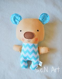 Handmade Teddy Bear Fabric Bear Stuffed Toy Teddy Bear Softie