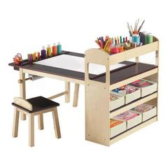 For art corner of playroom. Deluxe Art Center Set by Guidecraft Kids Art Table, Kid Table, Table And Chair Sets, Art Tables, Art Desk For Kids, Kids Craft Tables, Furniture For Kids, Kids Table And Chairs, Furniture Decor
