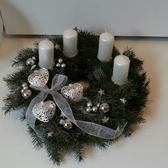 www.fler.cz/envioshop Christmas Advent Wreath, Christmas Mood, Christmas Candles, Outdoor Christmas, Christmas Decorations To Make, Christmas Crafts, Holiday Decor, Advent Candles, Crowns