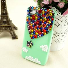 Rhinestone Samsung Galaxy S2,S3,S4 Case - Hot Air Balloon Up iPhone4/4s Case