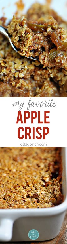 Apple Crisp Recipe - Apple Crisp is the perfect dessert for the apple lover. This apple crisp recipe is made with flavorful apples, cinnamon, and a perfectly crisp topping. // addapinch.com
